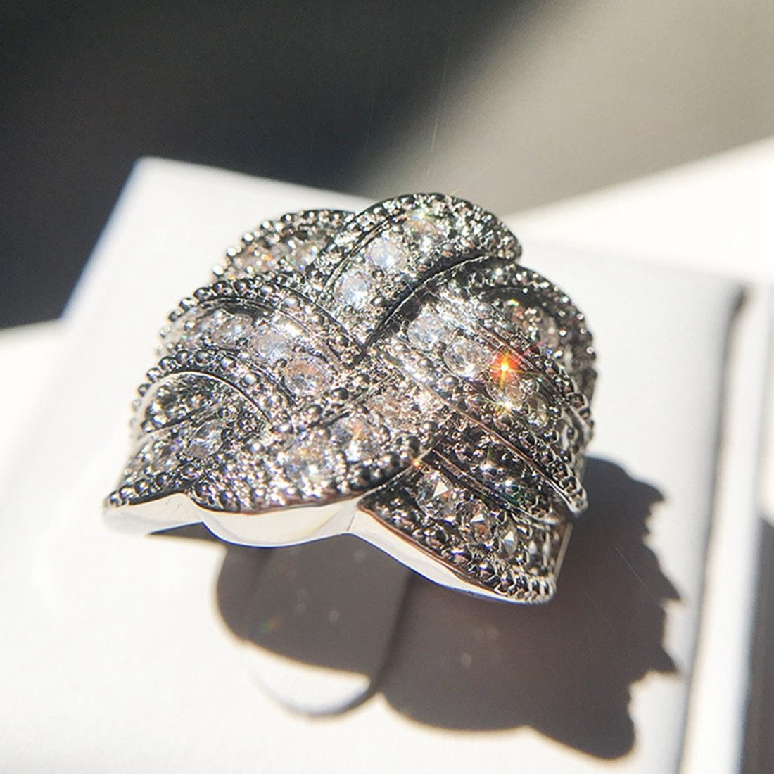 Luxury Big silver Rings with CZ Zircon Stone