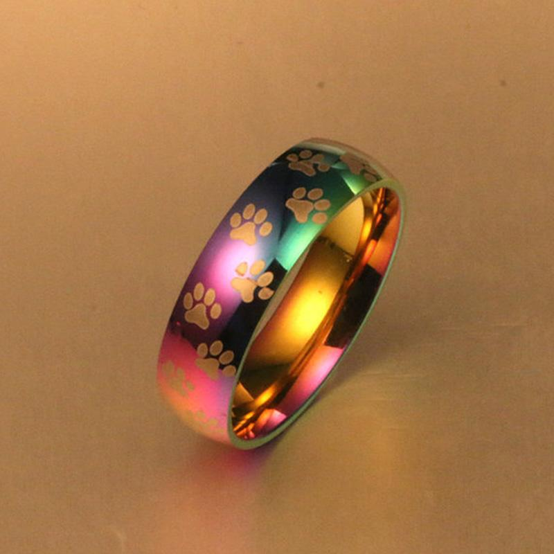 Rainbow Paw Print Ring