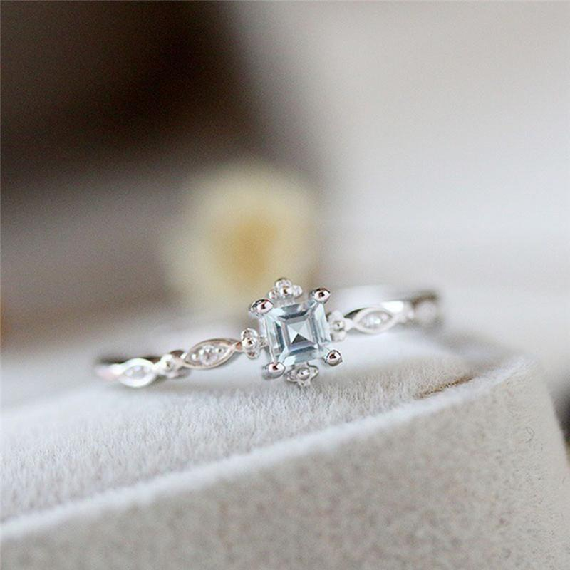 Dainty Blue Crystal Ring
