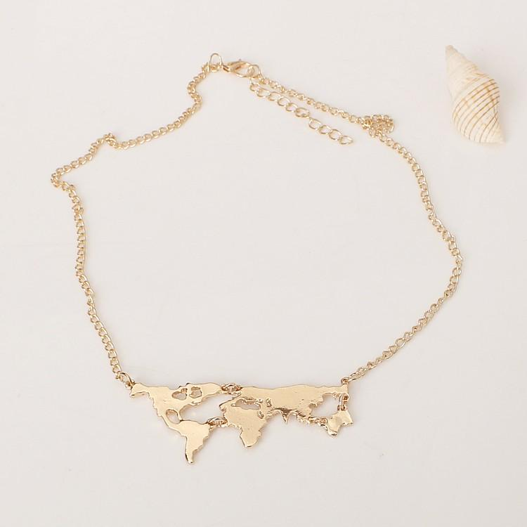 Cute world earth map necklace