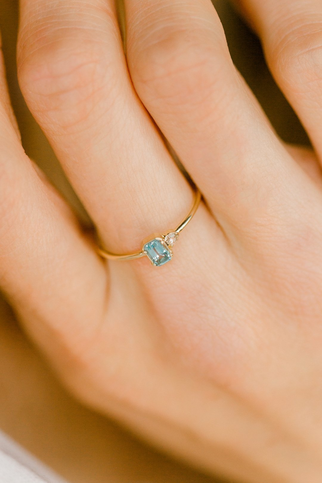 Delicate Aquamarine Art Deco Ring