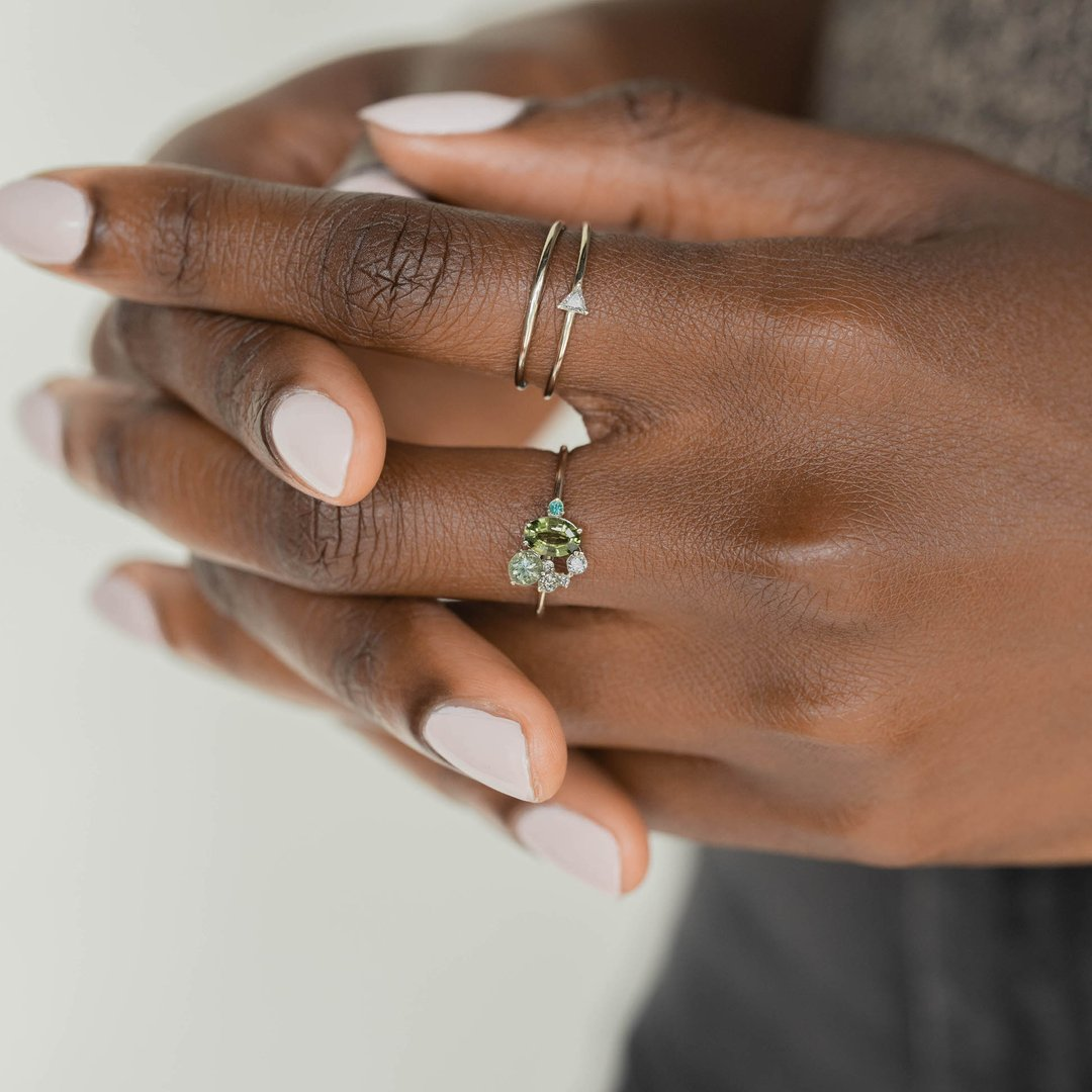 Tiny Green Zircon Ring