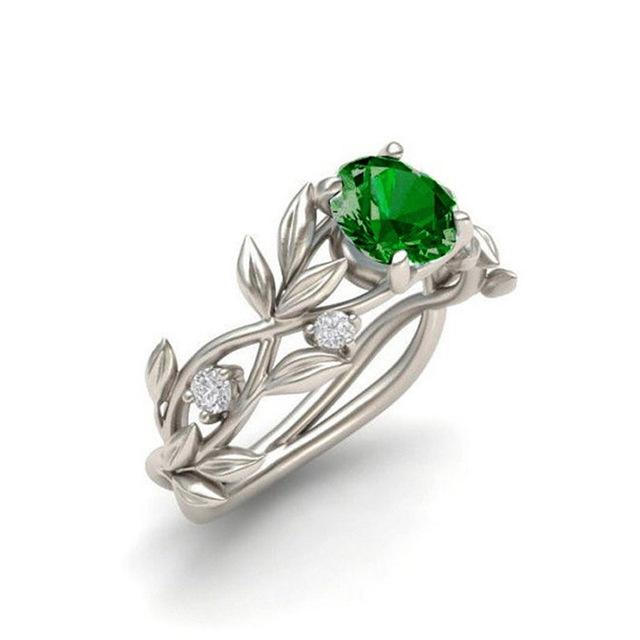 Crystal Flower Vine Leaf Ring