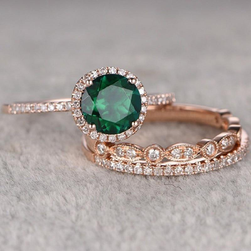Green Stone Crystal Engagement Ring 3Pcs/Set