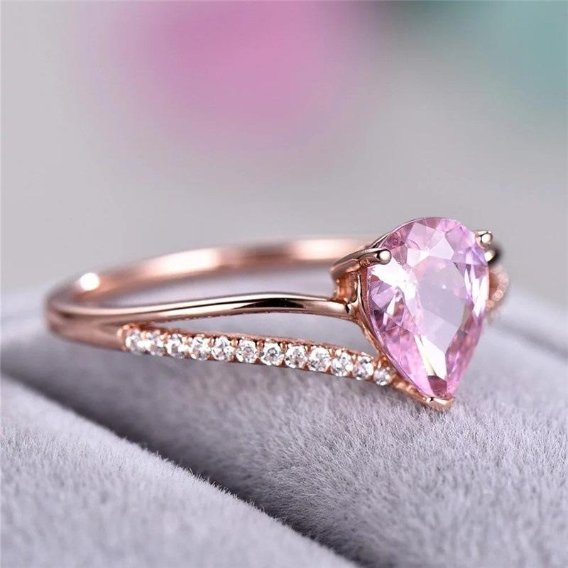 Pink Crystal Water Drop Ring