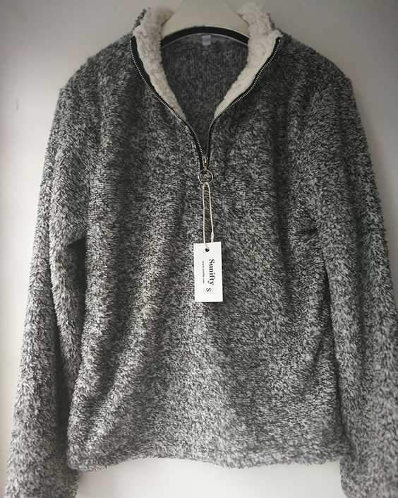 Quarter Zip Oversized Fuzzy Sherpa Fleece Pullover Jacket