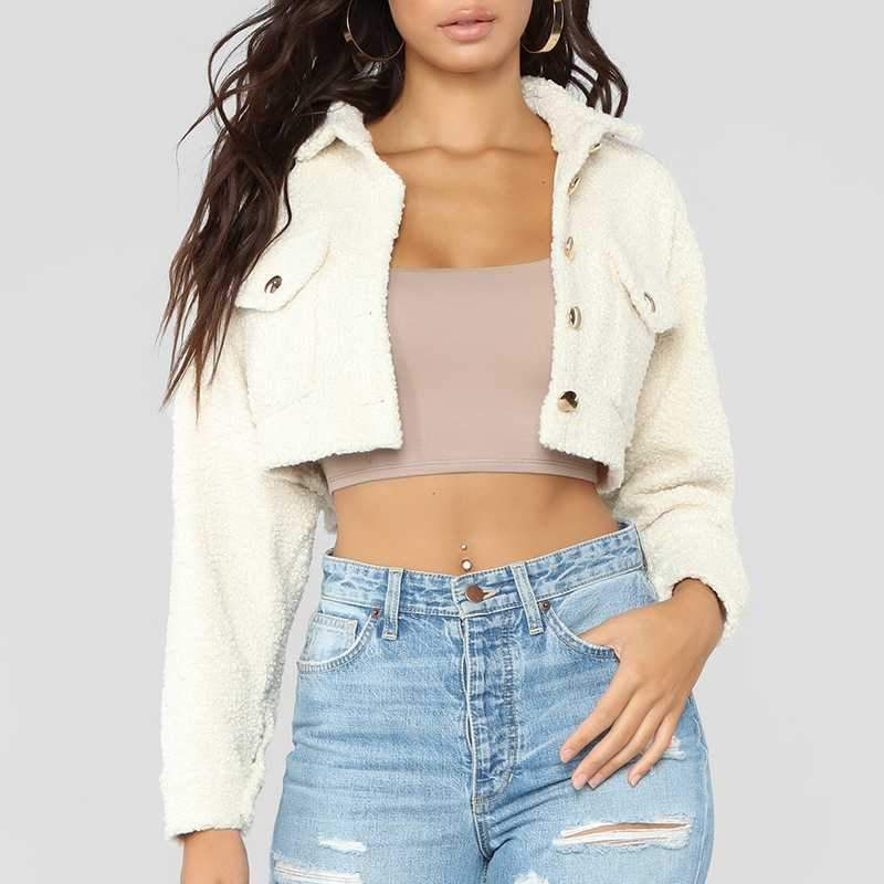 Thicker White Short Teddy Faux Fur Cropped Jacket Winter Coats