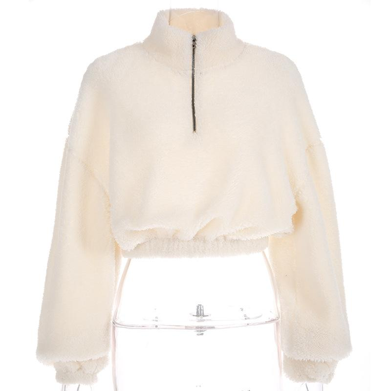 Oversized Teddy Pullover Faux Fur Cropped Jacket Coats