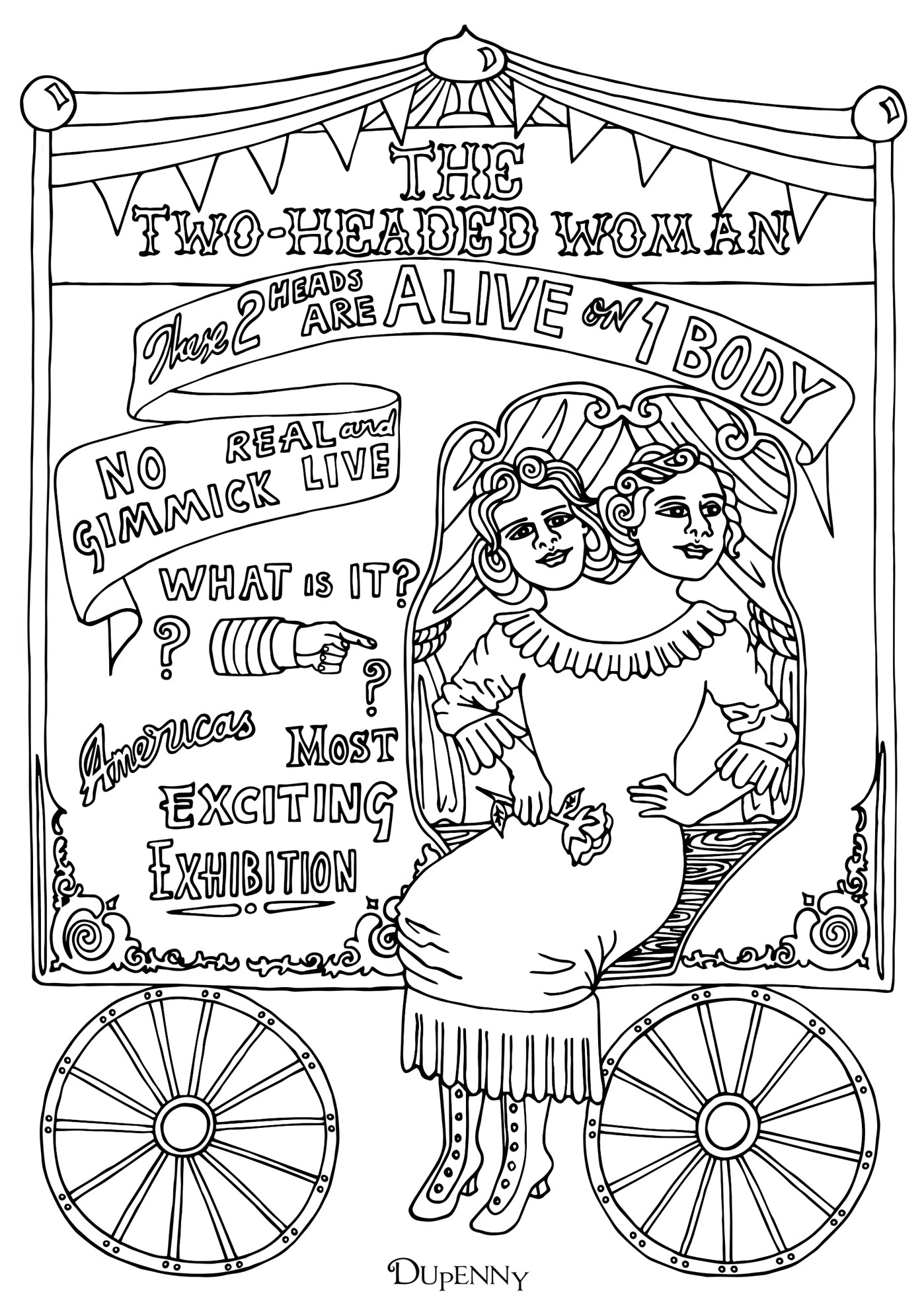 Dupenny A4 Coney Island '2-Headed Woman' Colouring Poster FREE