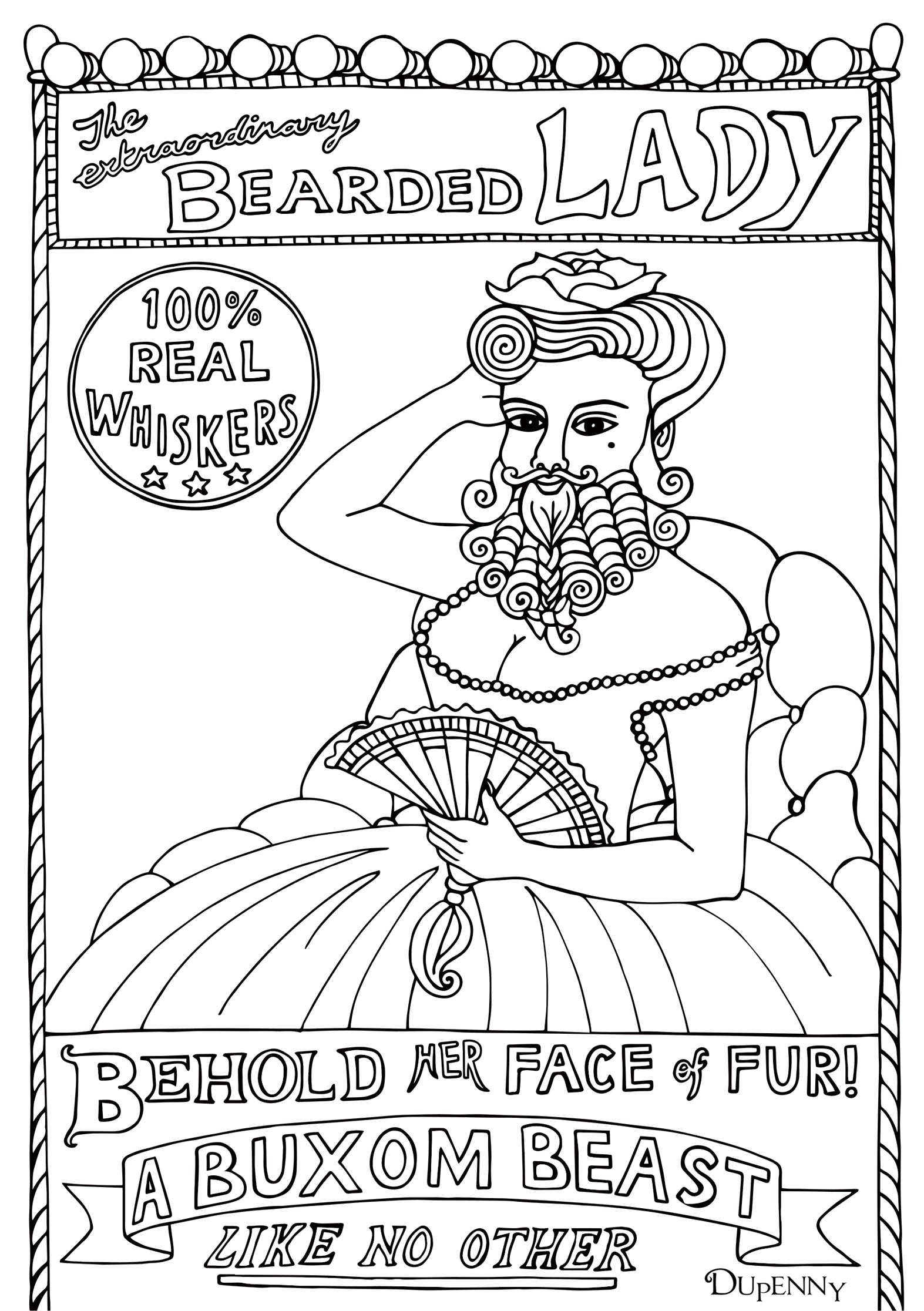 Dupenny A4 Coney Island 'Bearded Lady' Colouring Poster FREE