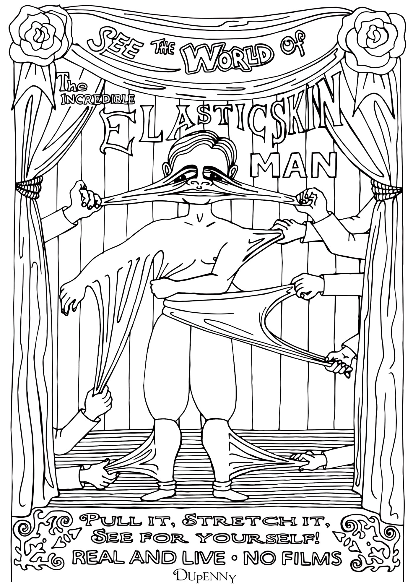 Dupenny A4 Coney Island 'Elastic Man' Colouring Poster FREE