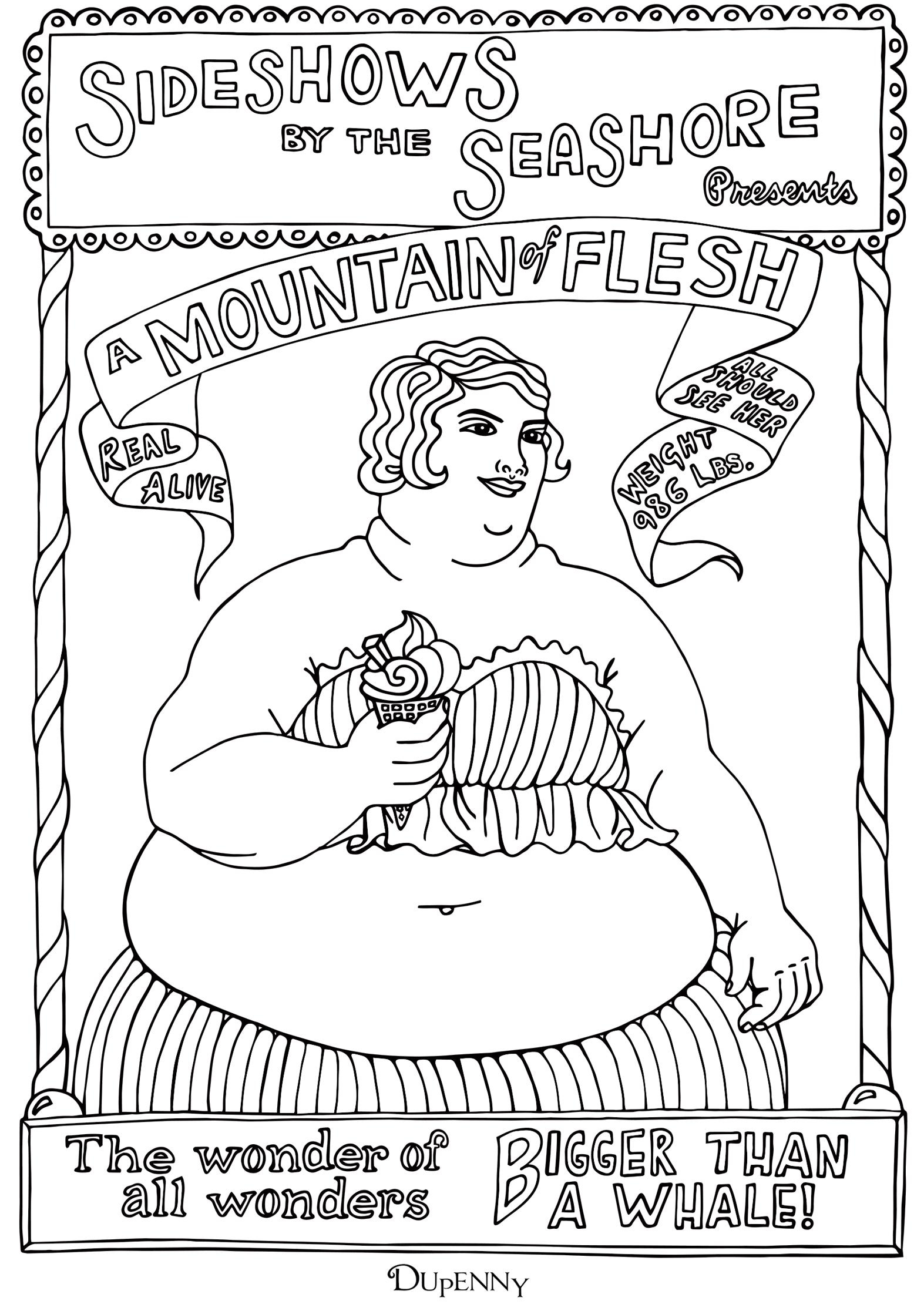 Dupenny A4 Coney Island 'Mountain of Flesh' Colouring Poster FREE