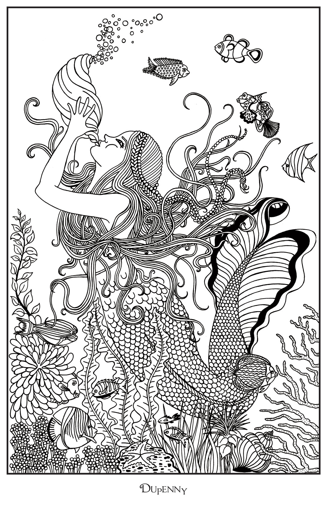 Dupenny A4 Mermaid 'Melody' Colouring Poster FREE