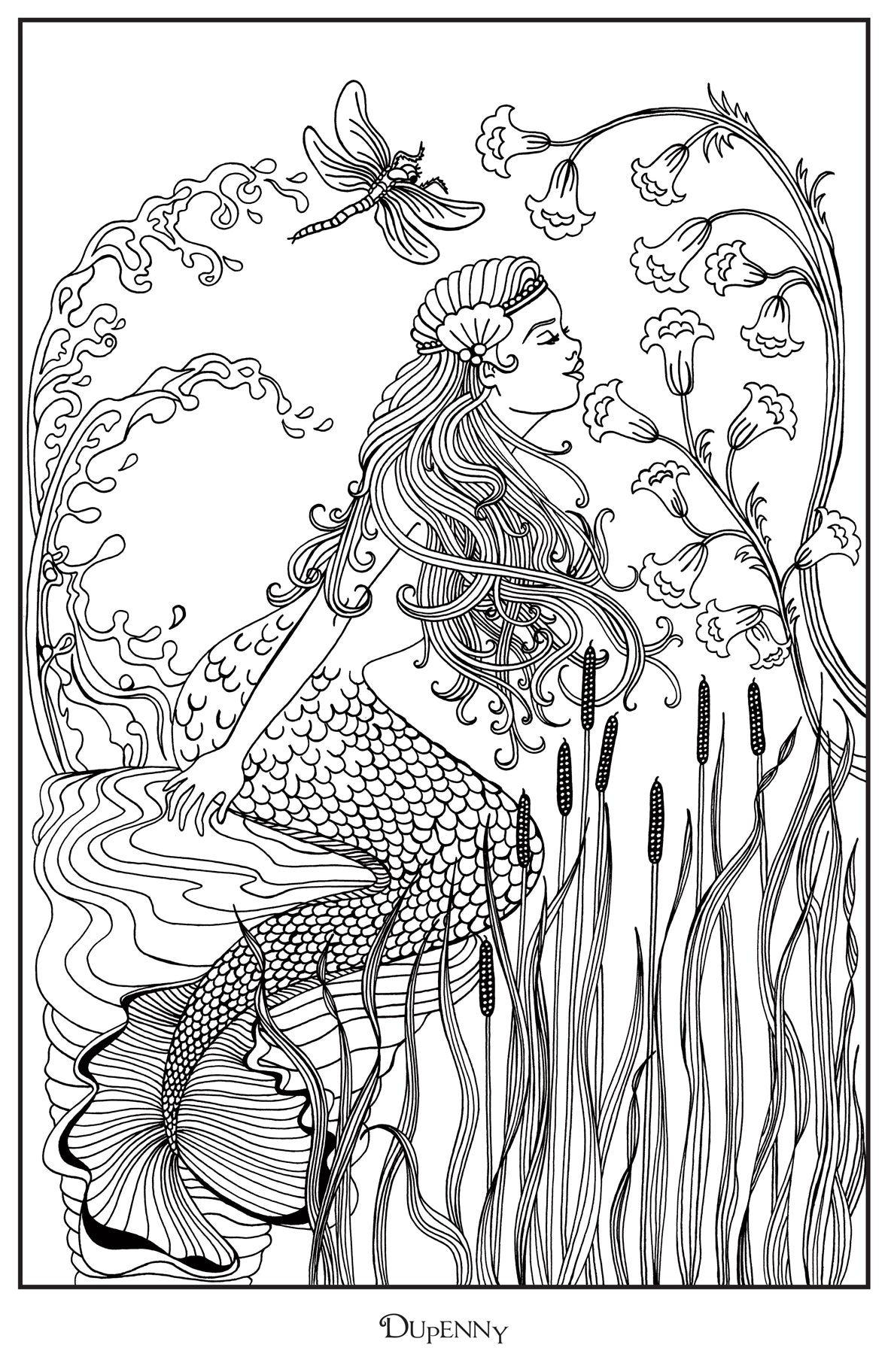 Dupenny A4 Mermaid 'Oceane' Colouring Poster FREE
