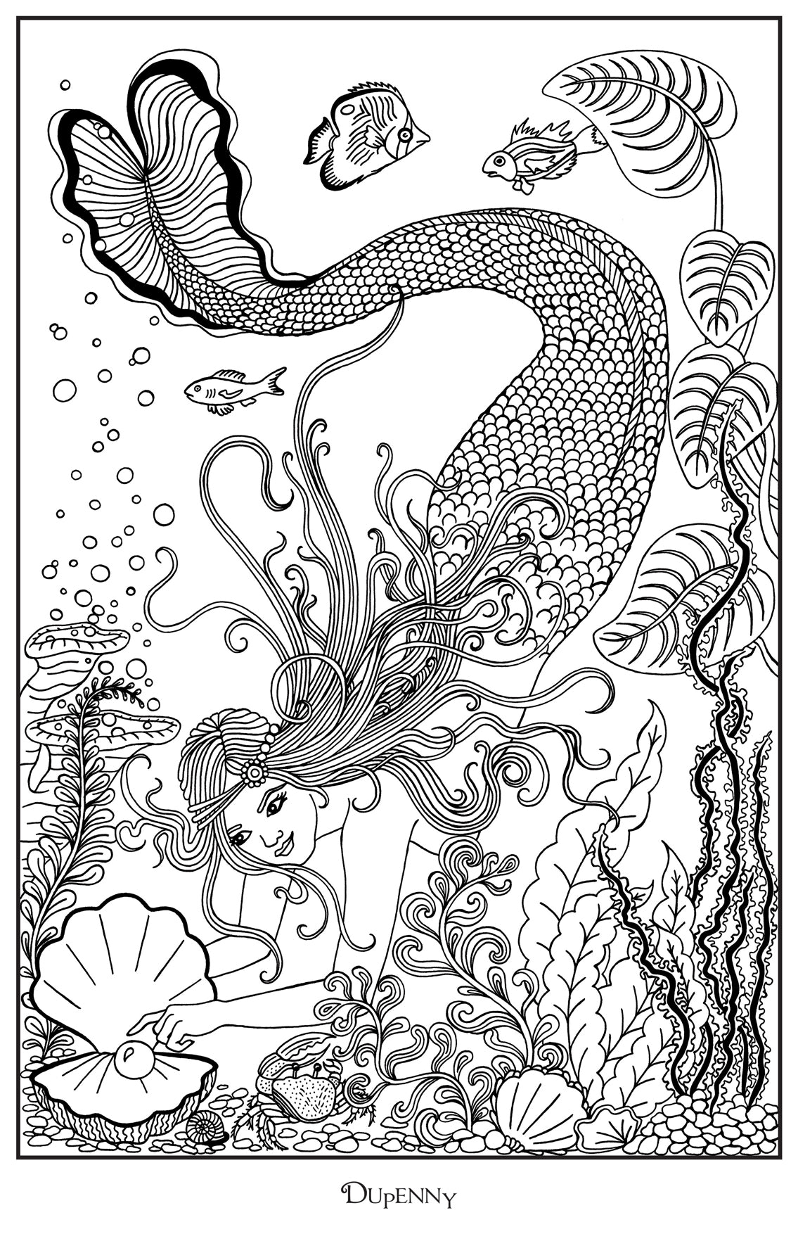 Dupenny A4 Mermaid 'Pearl' Colouring Poster FREE