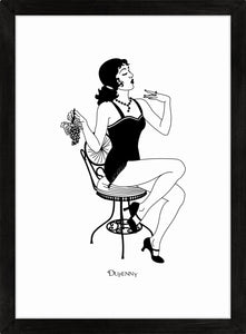 Monochrome art print of flapper girl eating grapes