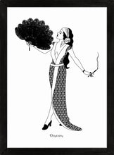 Load image into Gallery viewer, Monochrome art print of flapper girl holding fan and cigarette