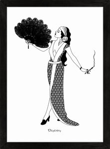 Monochrome art print of flapper girl holding fan and cigarette