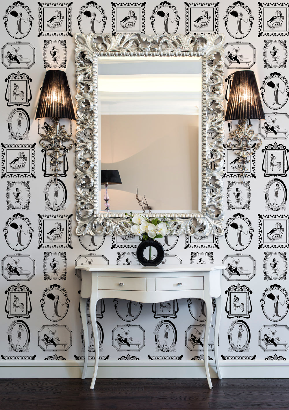 vintage 1920s themed wallpaper for art deco style interior design