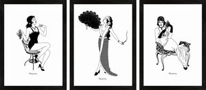 Set of three 1920s Glamour monochrome art prints featuring flapper girls