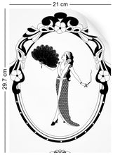 Load image into Gallery viewer, wallpaper sample with art nouveau design of 1920s glamorous woman in monochrome