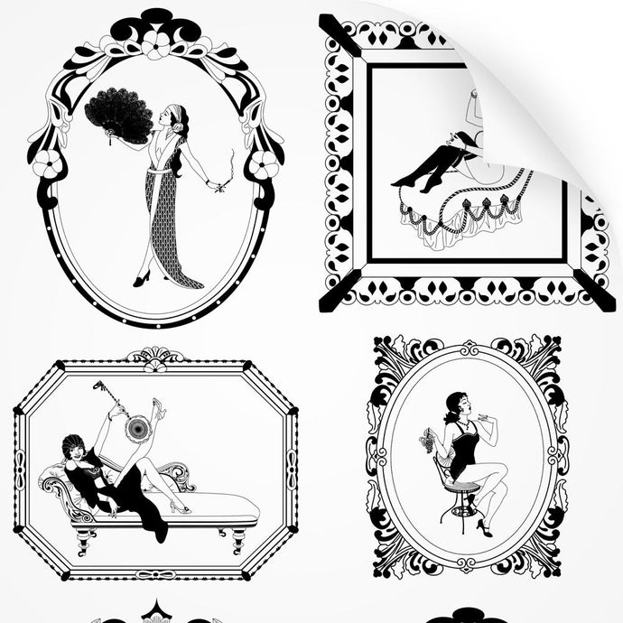 wallpaper sample with art nouveau design of a woman in monochrome aubrey beardsley