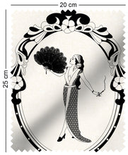 Load image into Gallery viewer, sample fabric with art nouveau design of a woman in monochrome aubrey beardsley