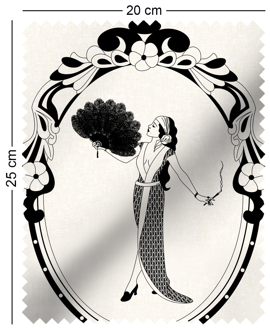 sample fabric with art nouveau design of a woman in monochrome aubrey beardsley