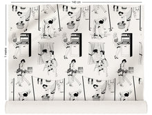 Load image into Gallery viewer, fabric roll with retro design of 50s housewives in monochrome