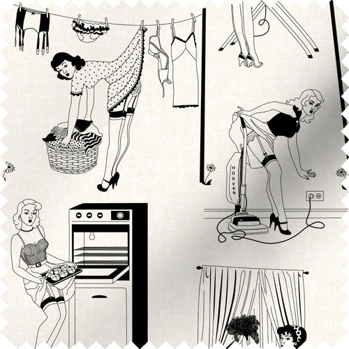 fabric swatch with retro design of 50s housewives in monochrome