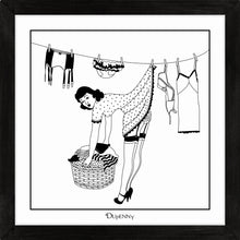 Load image into Gallery viewer, Monochrome art print of 50s housewife hanging washing