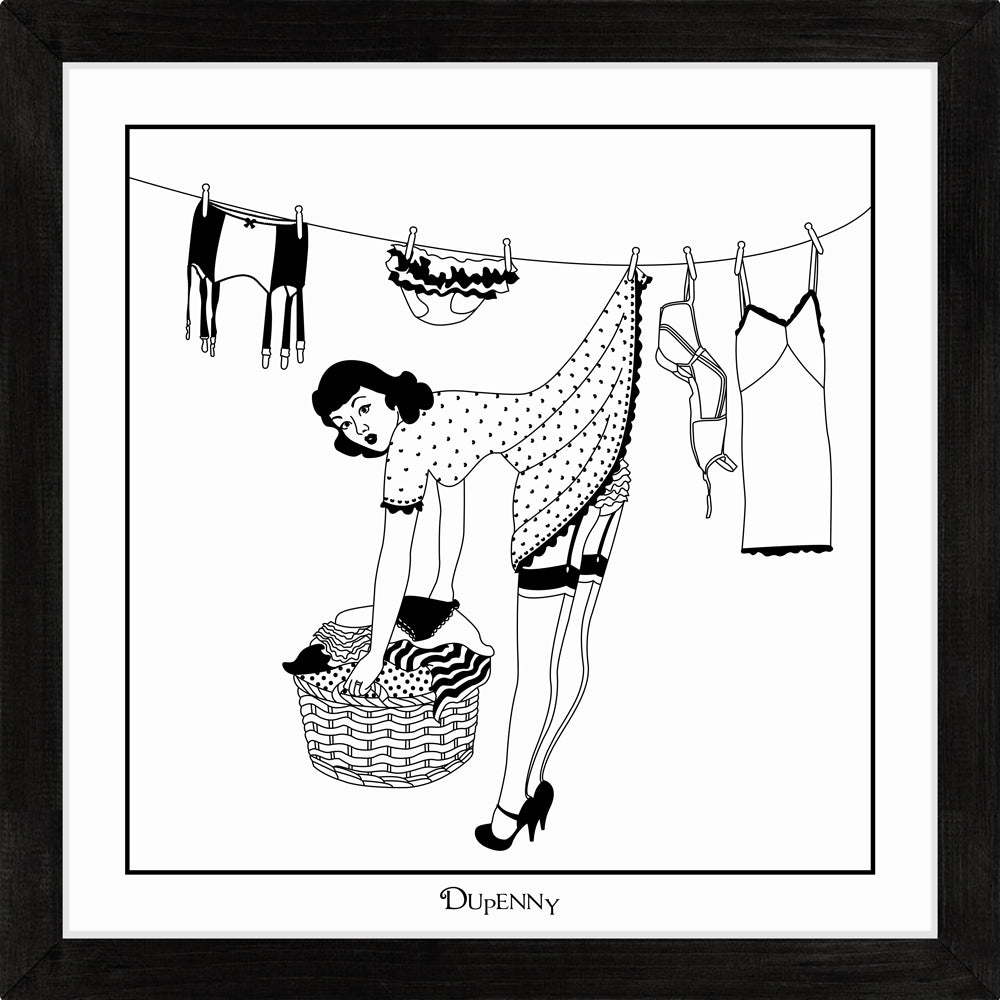 Monochrome art print of 50s housewife hanging washing