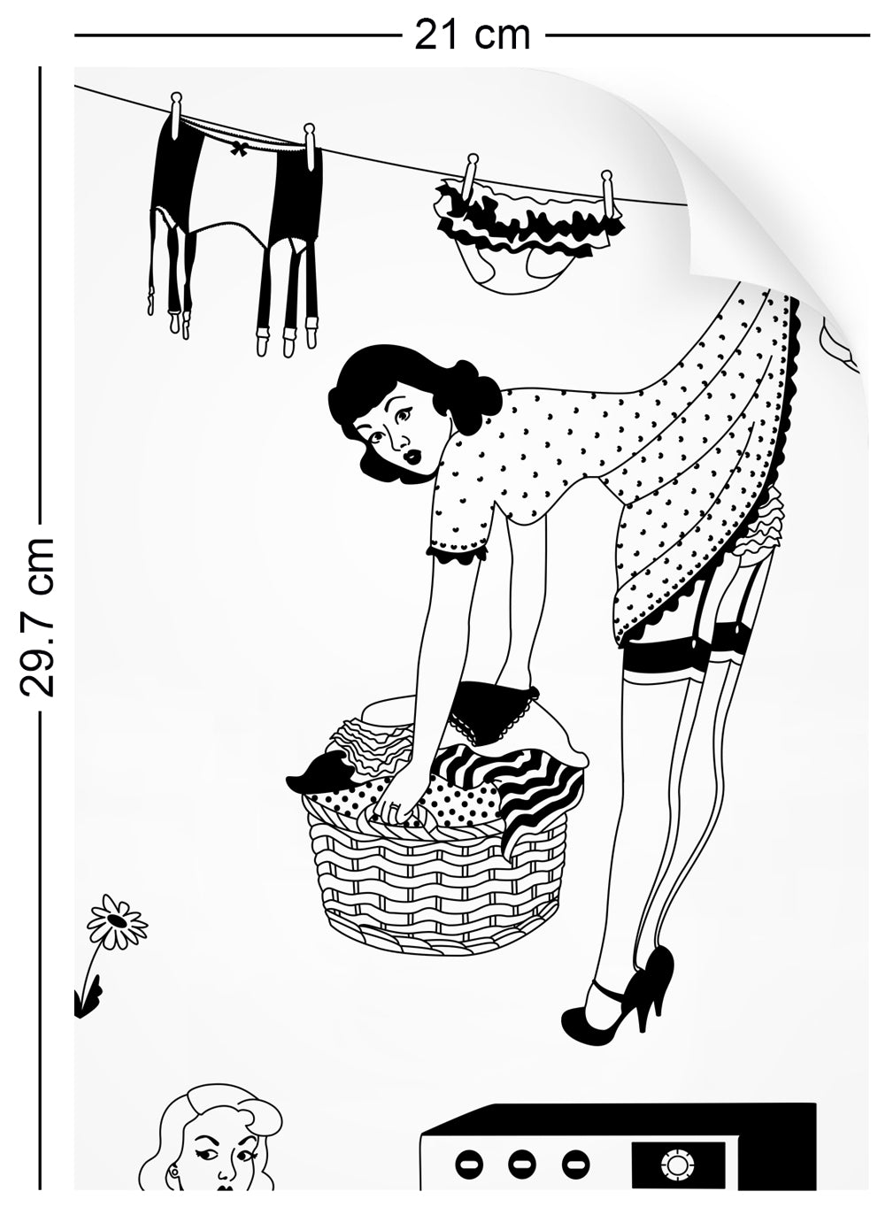 a4 wallpaper sample with retro design of 50s housewives in monochrome