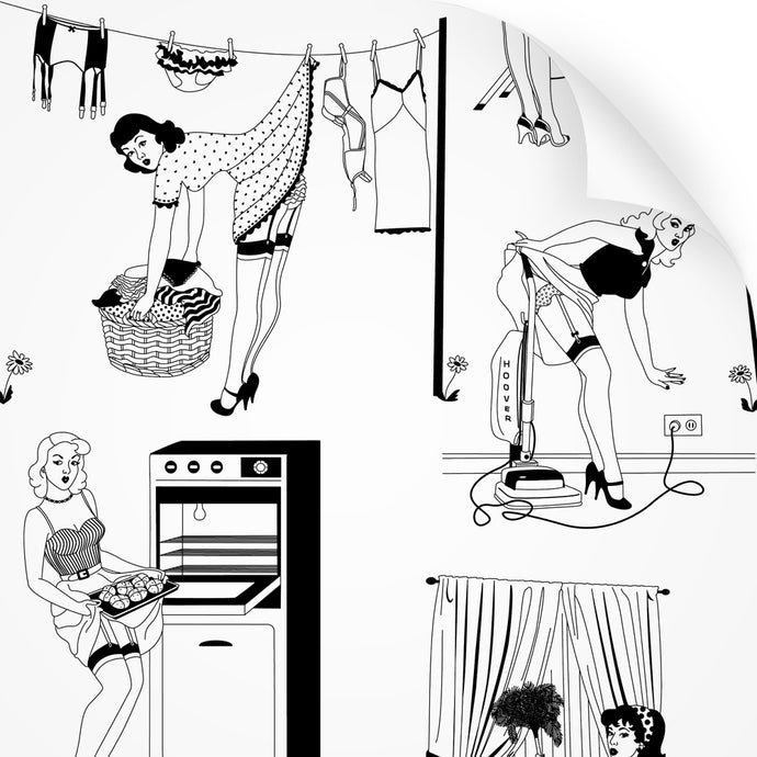 wallpaper sample with retro design of 50s housewives in monochrome