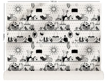 Load image into Gallery viewer, fabric roll with vintage handbags and jewellery design in monochrome