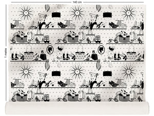fabric roll with vintage handbags and jewellery design in monochrome