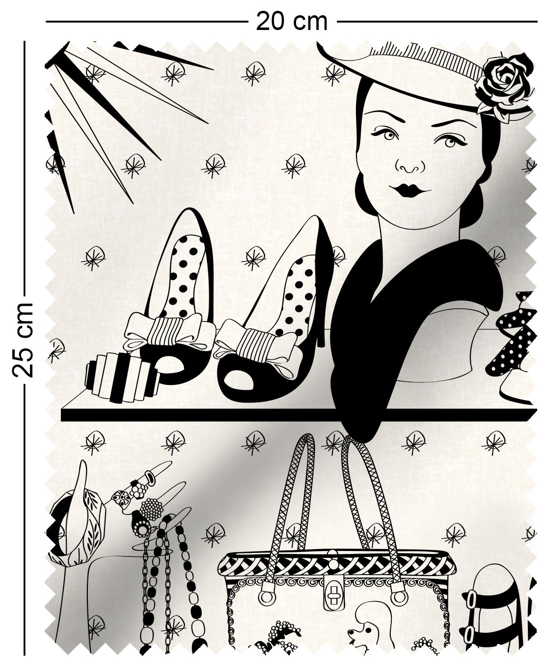 fabric swatch with vintage handbags and jewellery design in monochrome