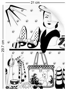 a4 wallpaper sample with vintage handbags and jewellery design in monochrome