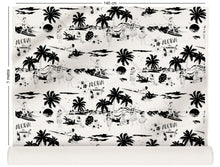 Load image into Gallery viewer, fabric roll with Hawaiian surfers and hula girls design in black and white