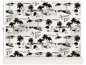 fabric roll with Hawaiian surfers and hula girls design in black and white