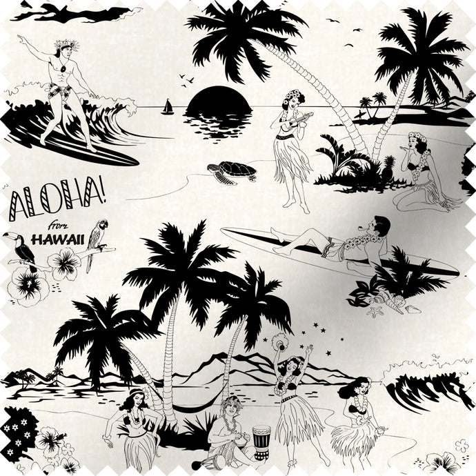 fabric swatch with Hawaiian surfers and hula girls design in black and white