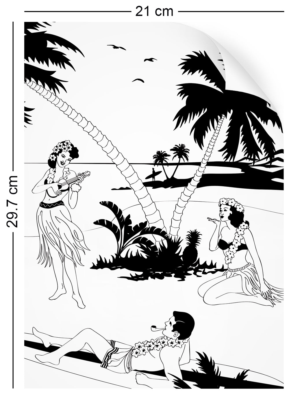 a4 wallpaper sample with Hawaiian surfers and hula girls design in black and white