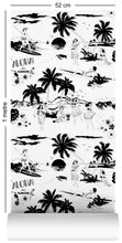 Load image into Gallery viewer, wallpaper roll with Hawaiian surfers and hula girls design in black and white
