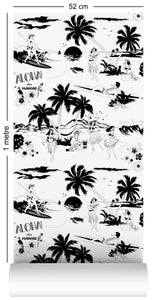 1m wallpaper sample with Hawaiian surfers and hula girls design in black and white