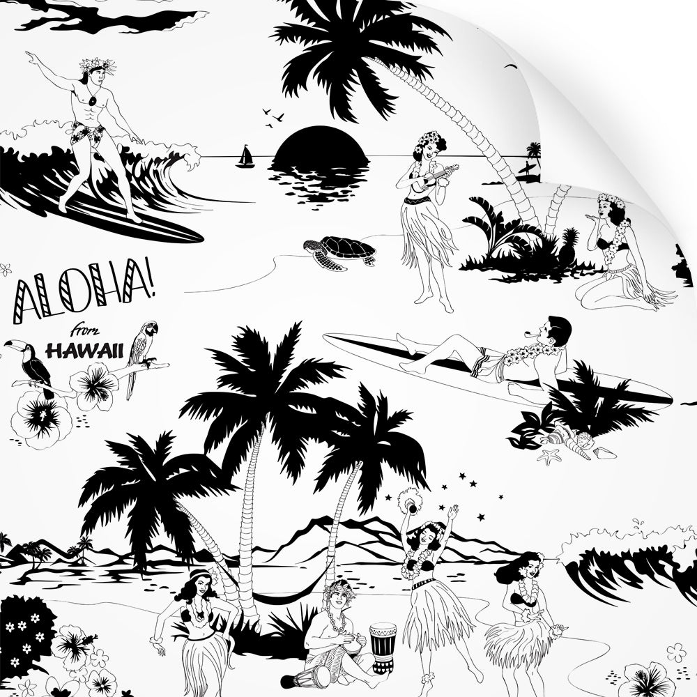 wallpaper swatch with Hawaiian surfers and hula girls design in black and white