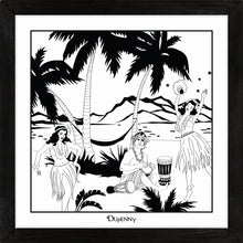 Load image into Gallery viewer, Hawaiian themed monochrome framed art print with bongo surfer and hula girls.