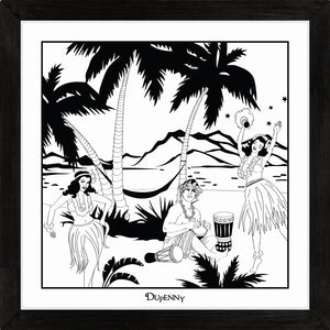 Hawaiian themed monochrome framed art print with bongo surfer and hula girls.