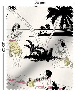 fabric swatch with retro Hawaiian surfer and hula girl tropical design in paradisecolours