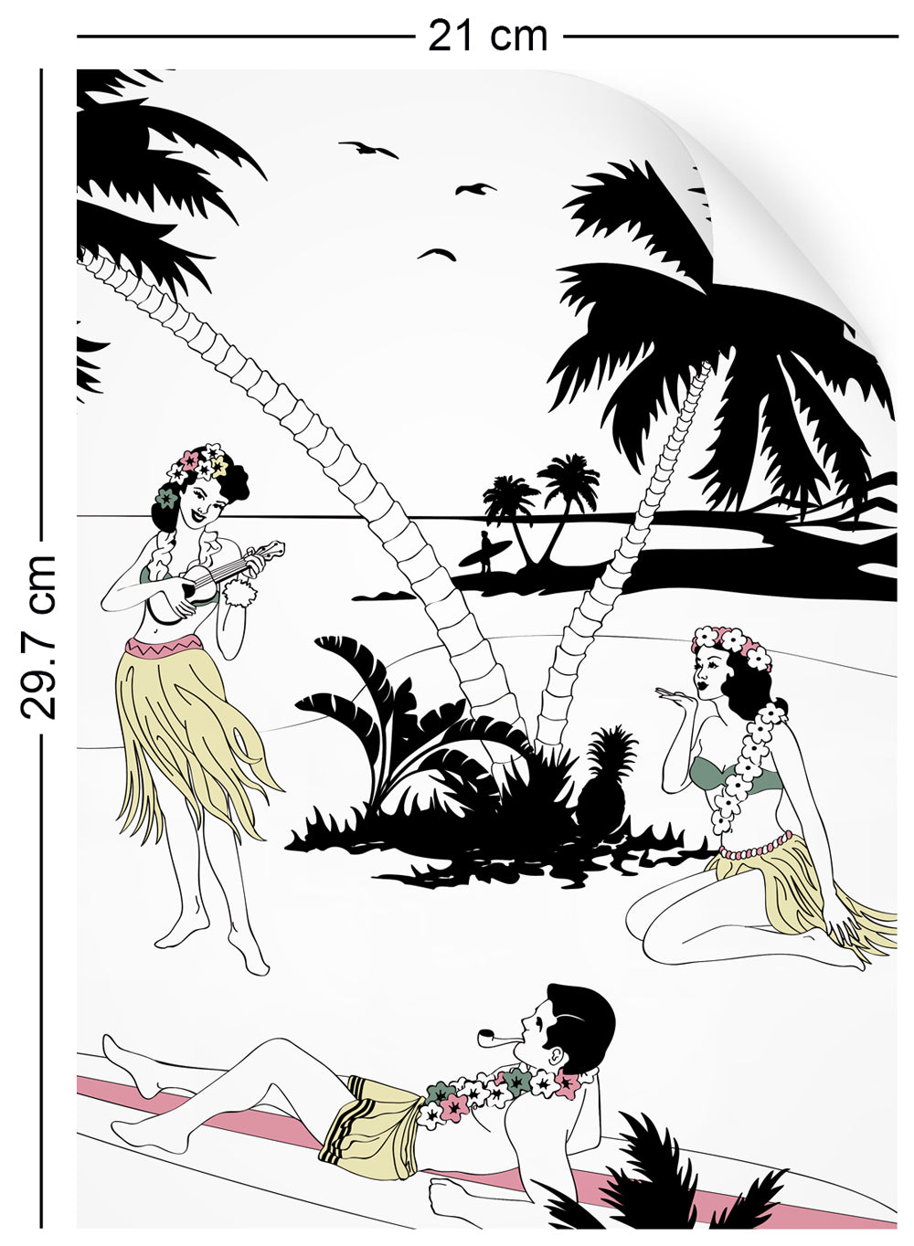 a4 wallpaper sample with Hawaiian surfer and hula girl design in retro colours
