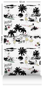 wallpaper roll with Hawaiian surfer and hula girl design in retro colours